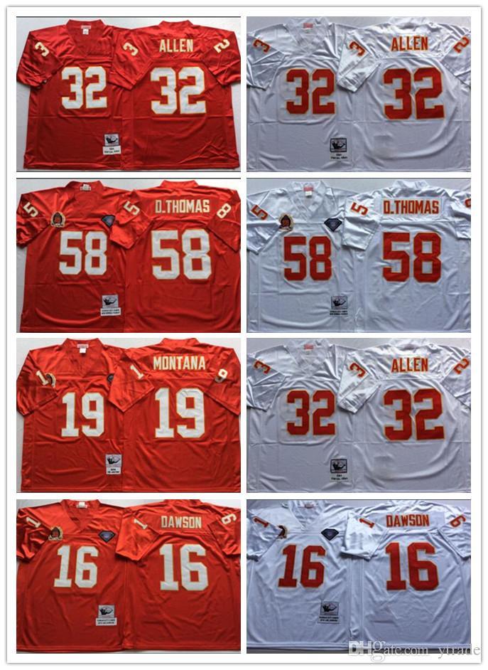 NCAA MENS Vintage Jerseys 19 Joe Montana Len Dawson Marcus Allen Derrick Thomas Fútbol Jerseys cosido