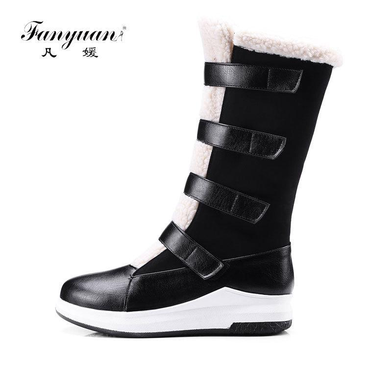 Fanyuan New Hook & Loop Ladies Warm Winter Shoes Round Toe Women's Snow Boots Mixed Colors Short plush Female's Mid Calf Boots