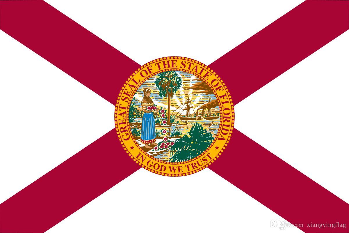 freies Verschiffen Großhandelsfabrikpreis 100% Polyester 90 * 150cm 3x5 fts Florida Flagge der Vereinigten Staaten für die Dekoration