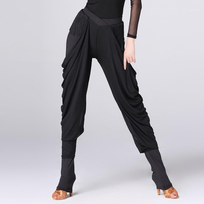 무도실 라틴어 춤 바지 여자 검정 시퐁 술 숙녀 연습 춤 착용 옷 삼바 탱고 살사 바지 DNV101691