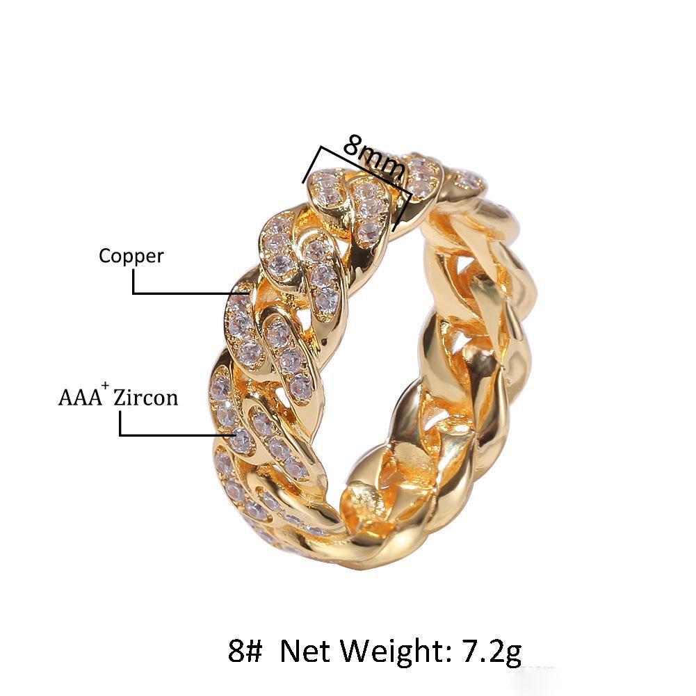 8 мм мужские кубинские звено цепи кольца хип-хоп Циркон камень золото серебро обледенелое кольцо для женщин хип-хоп ювелирные изделия подарок