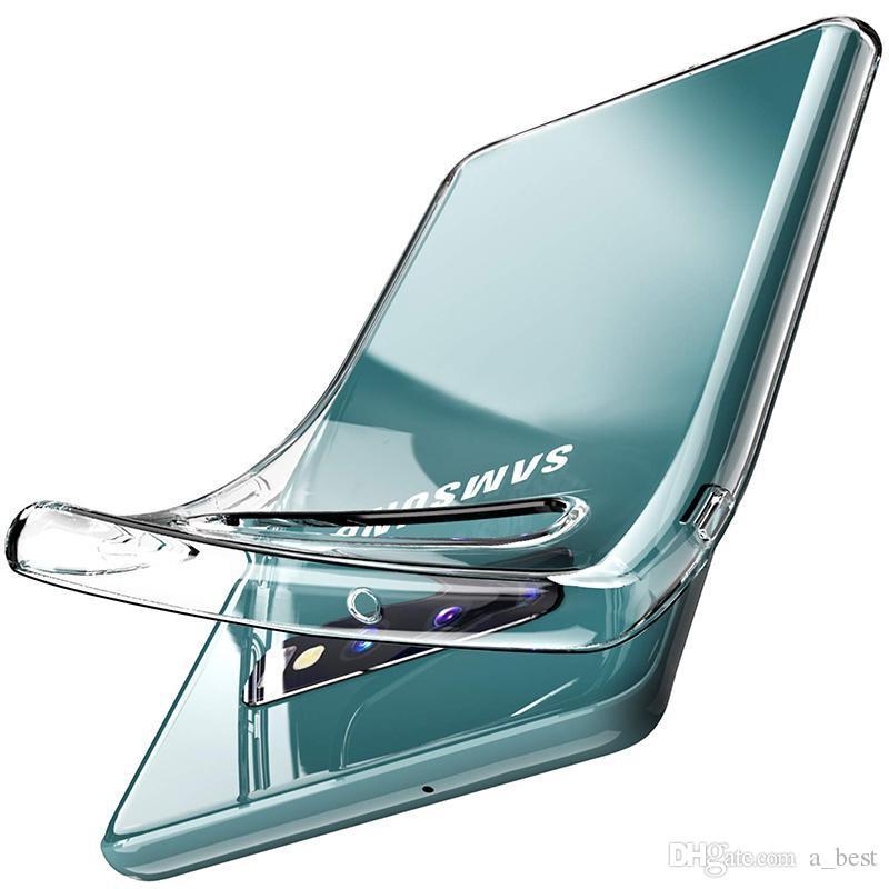 삼성 갤럭시 Note10 플러스 S10 S10E S9 S8의 경우 1.5MM 맑고 투명 TPU 케이스 소프트 맨 젤 커버 화웨이 P30 라이트 프로