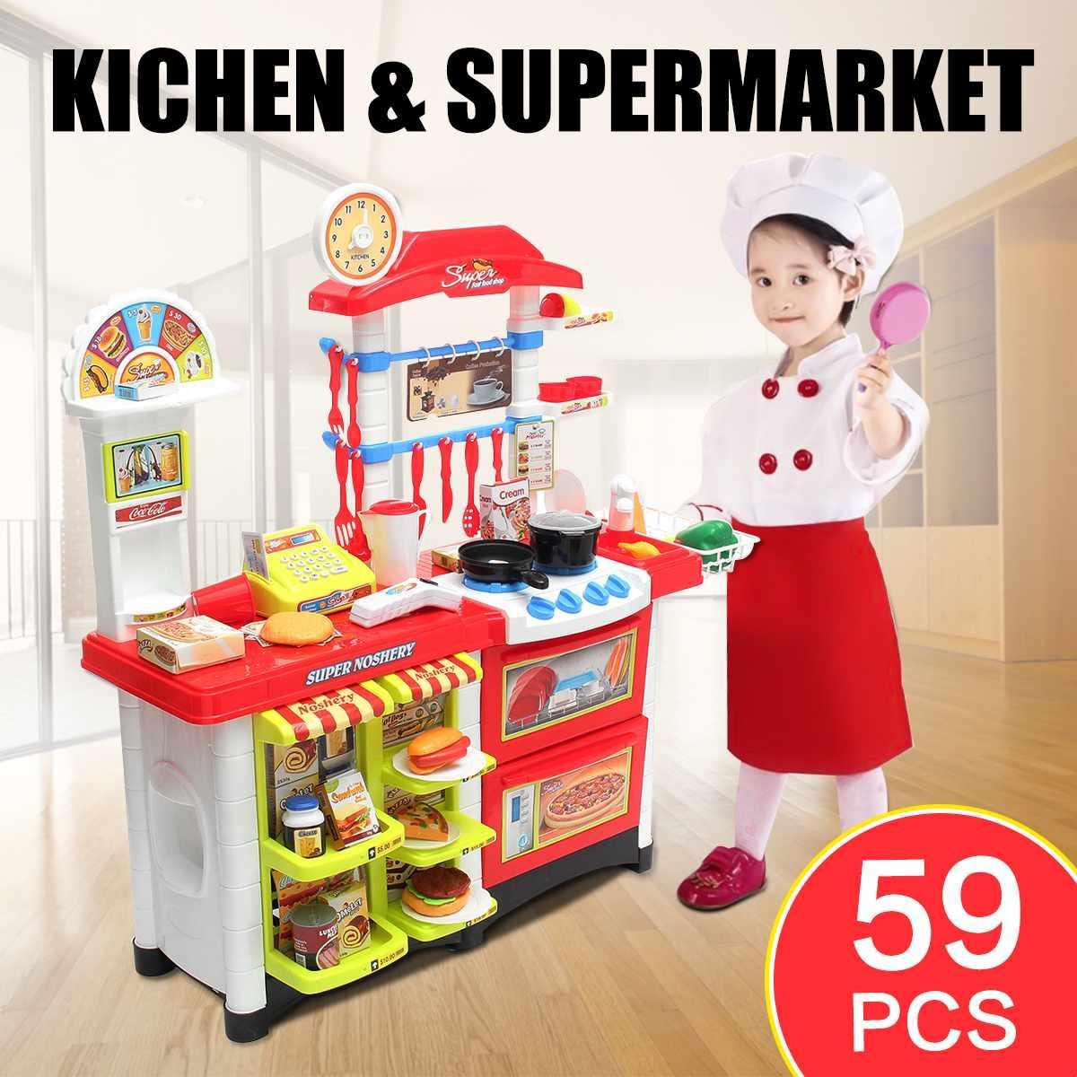 Venta al por mayor Miniatura de cocina de plástico Juego de imaginación Supermercado de alimentos Juguetes para niños con música ligera Cocina Cocina Juego de juguetes
