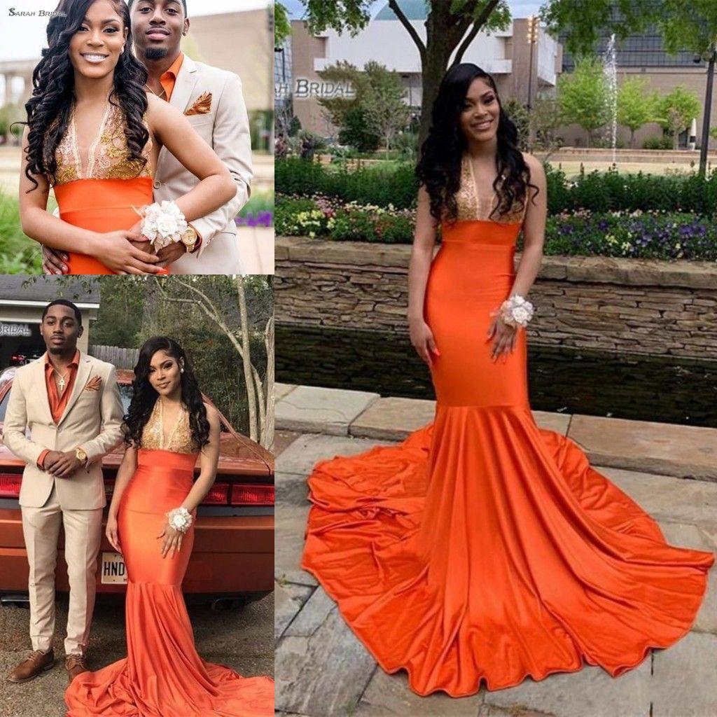 Arancione con scollo a V con il vestito da promenade di Appliques africani 2020 maniche sweep sirena di sera del partito di vendite calde