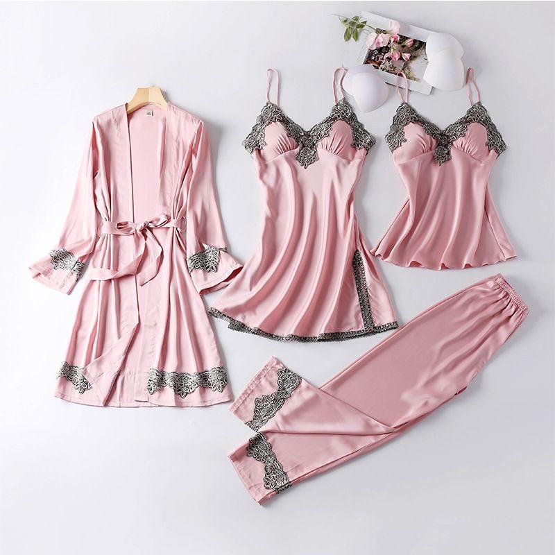Vestido de encaje Albornoz Batas viscosa de los pantalones de las mujeres atractivas de la nueva Robe Mujer de verano de cuatro piezas de Set-Mujeres