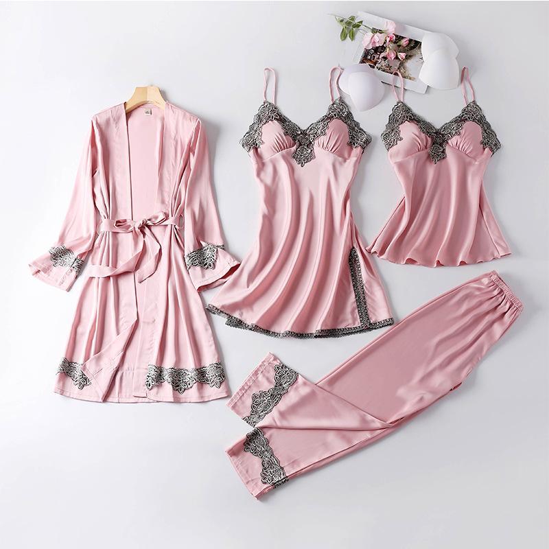 Neue Produkte Robe Weiblich Sommer Vierteiliges Set-Frauen reizvolle Hosen Damen-Roben Viscose Bademantel Spitze Kleid