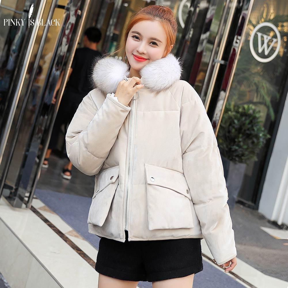 PinkyIsBlack 2019 nuevo de la manera chaqueta de invierno con capucha de terciopelo Mujeres Con La Piel Mujer Escudo bolsillos invierno Outwear corta para mujer Parkas