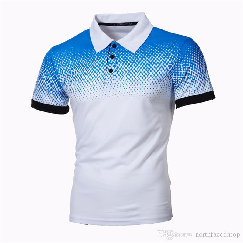 De lujo para hombre Polo camisas del diseñador Impreso Gradiente Delgado T casual para hombre de manga corta Tops