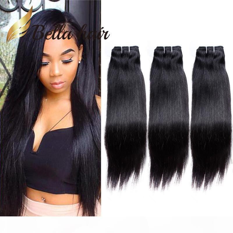 Bella Haare? 100% Rohboden brasilianische Haar-Webart 9A einfärbbar Menschenhaar-Verlängerungs-natürliche Farbe 3 Bundles seidige gerade Julienchina