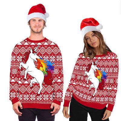 رجال ونساء مصمم البلوز الحيوان عيد الميلاد الطباعة الرقمية أنثى جولة الرقبة سترة كبيرة الحجم منزوع زوجين حار بيع