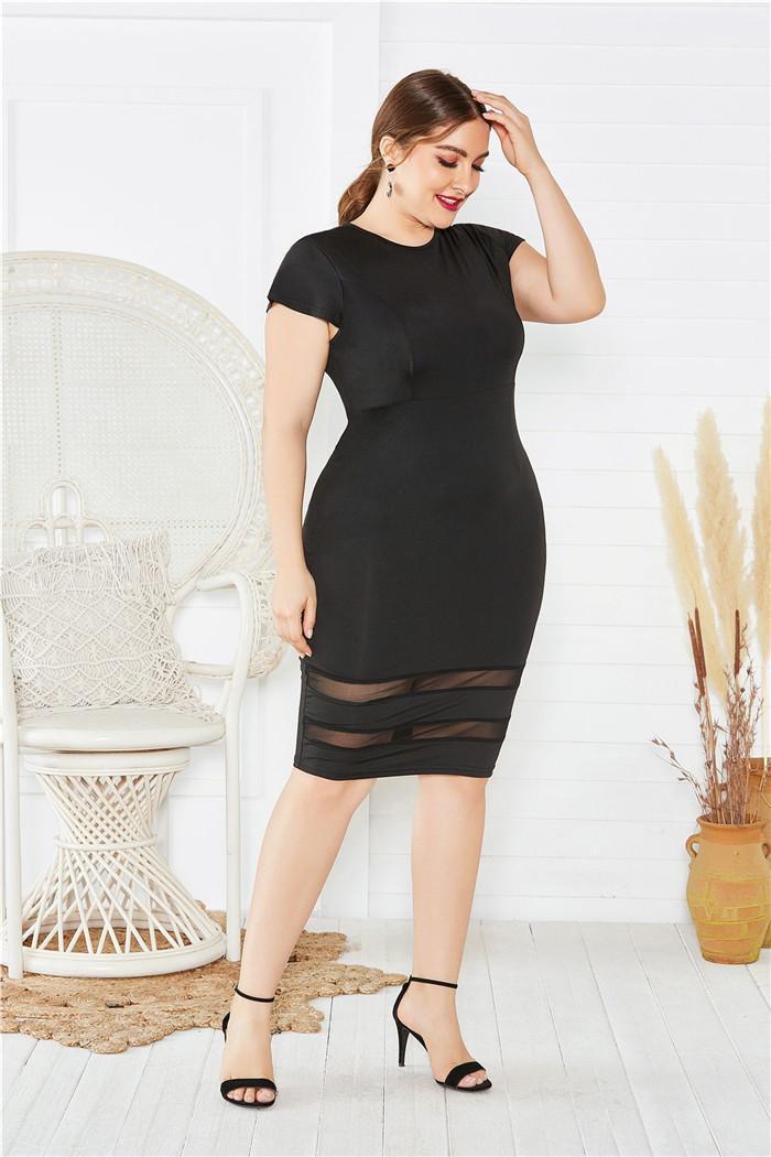 Tinta unita Casual Womens Dress Plus Size Vestito aderente estate Designer Penelled sexy Girocollo One Step Abiti femmine