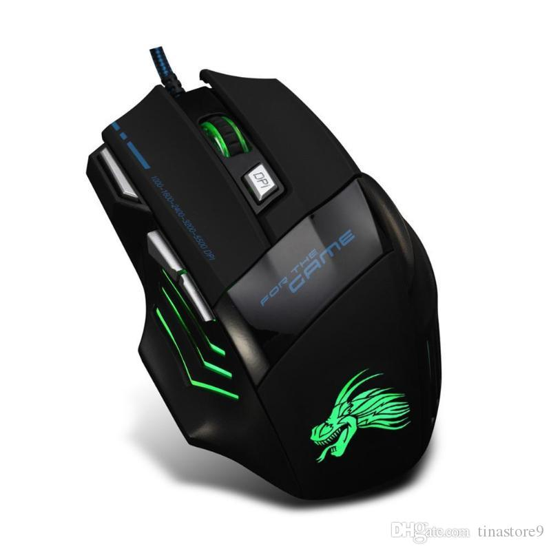 Dropship 5500DPI LED Optical Gamer Maus USB Wired Gaming Mouse 7 Tasten Gamer-Computer-Mäuse für Laptop PC Mäuse