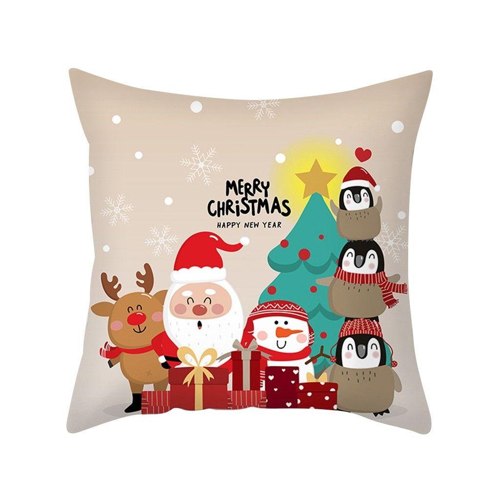 Noël mignon Coussin Cartoon couverture Chien Chat décoratif Taie girafe Coussin Housse Pour Canapé Funda Cojin Kussenhoes Taie