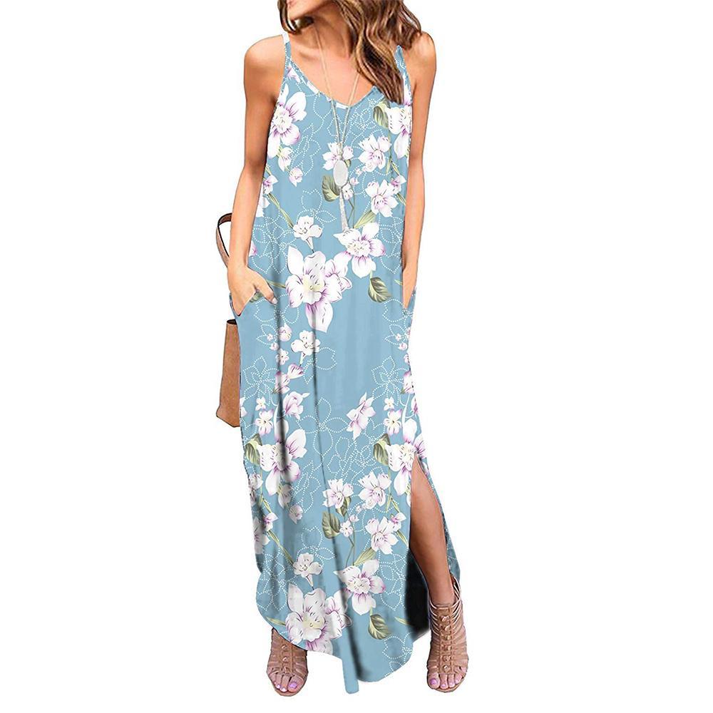 Pocket olan kadınlar Yaz Casual Gevşek Elbise Kolsuz Plaj Cover Up Uzun Cami strappy Maxi Flora Baskılı Elbiseler