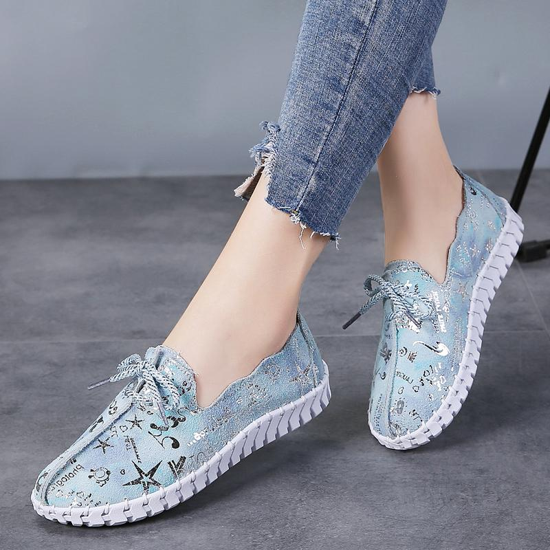 STQ Spring Women Flats Loafers Shoes Genuine Leather Flats Female Shoes Lace Up Loafers Casual Slip-on Walking Shoes Woman 7760 Y200320