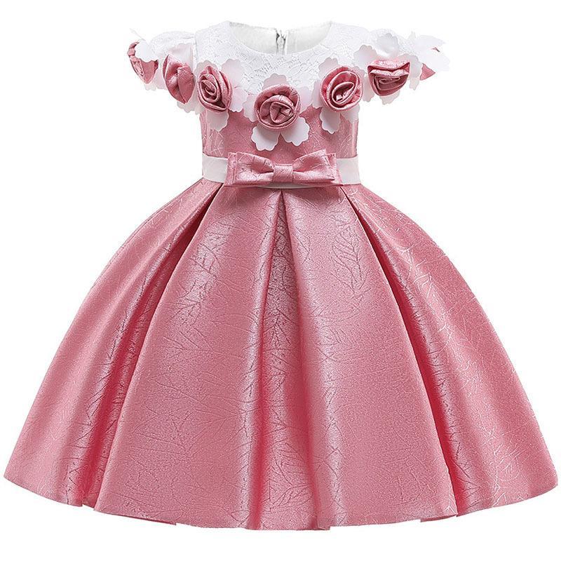 Vestido de princesa de seda de la flor del bebé 3d para el banquete de boda Vestidos elegantes de los niños para la ropa de la moda de los niños de la muchacha del niño J190520