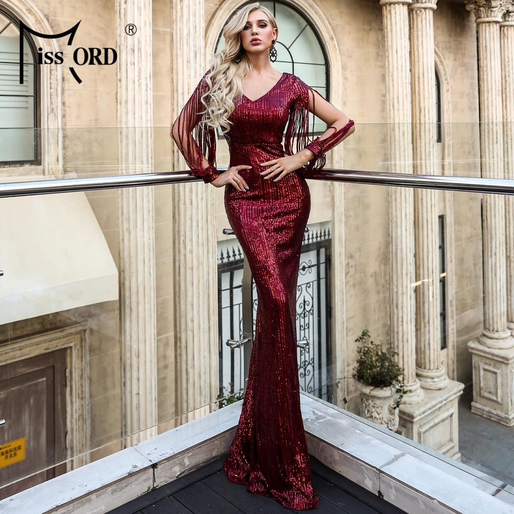 Missord 2019 Seksi V Yaka Uzun Kollu Pullu Elbise BODYCON Elbise Şık Maxi Parti Elbise FT20032-2