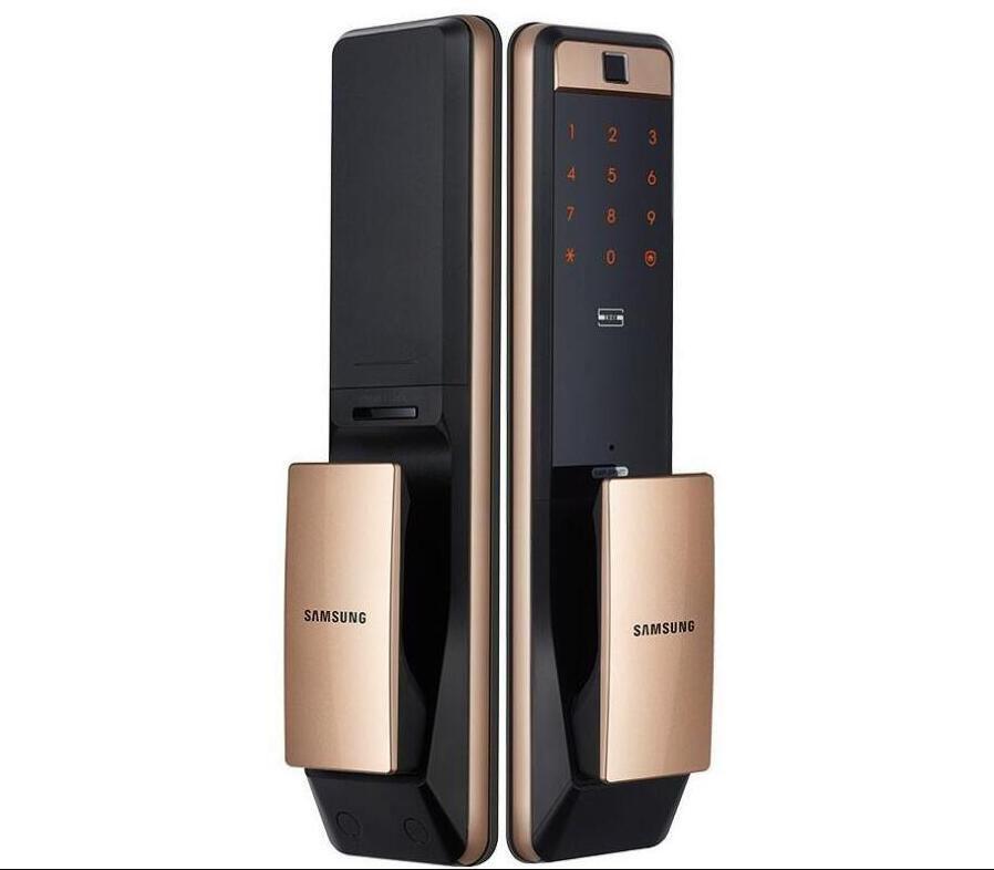 2020-SAMSUNG SHP-DP609 sans clé d'empreintes digitales PUSH PULL Two Way numérique Door Lock English Version Big mortaise couleur or