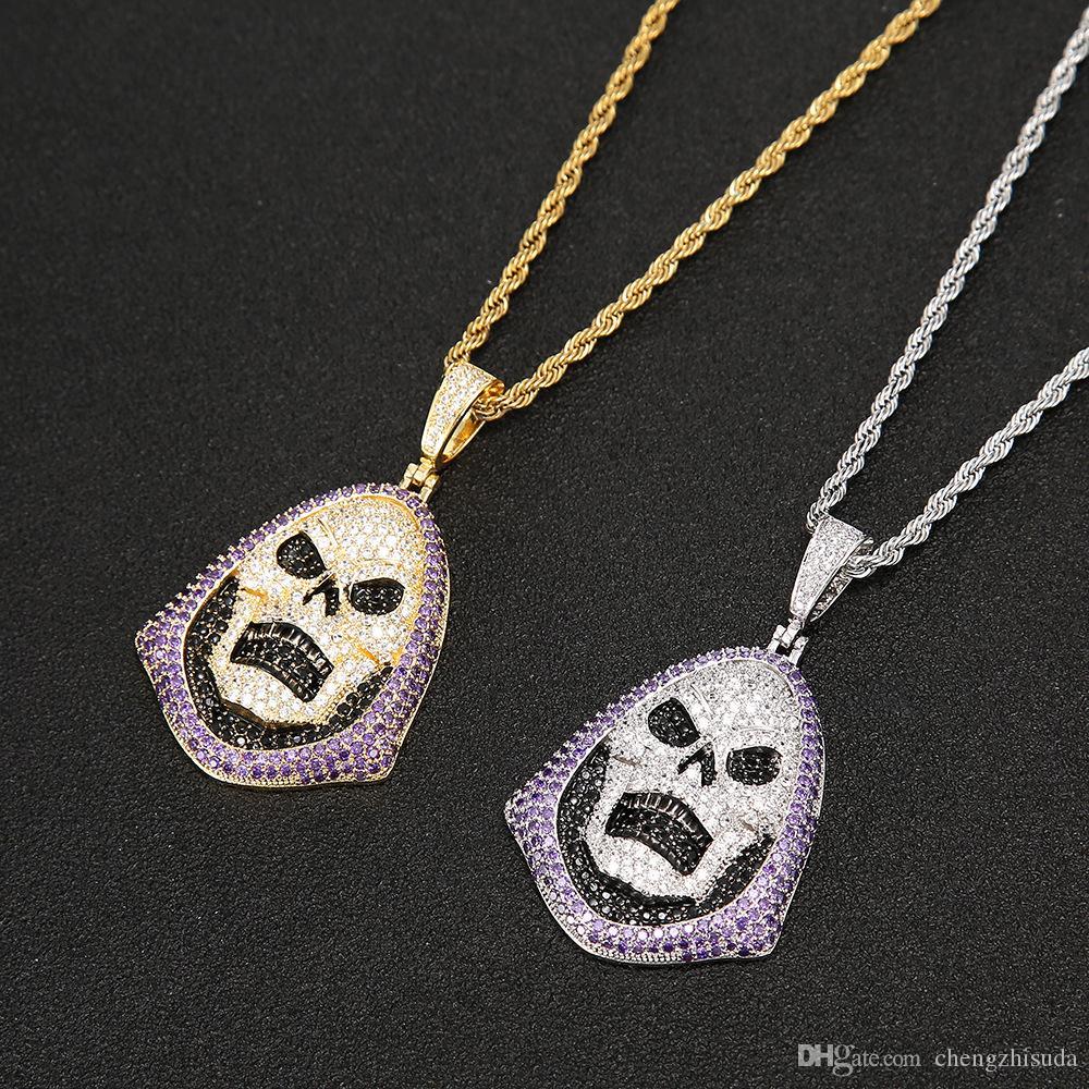الهيب هوب هودي الجمجمة بيربل حجر قلادة التنس سلسلة ذهبية فضية مكعب زركونيا مجوهرات روك