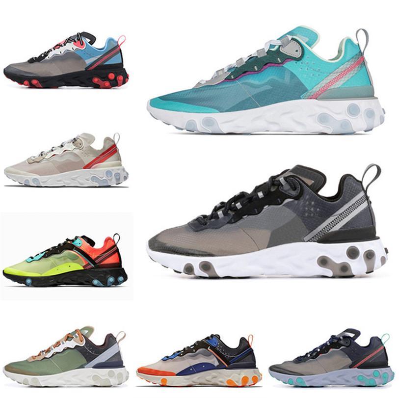 Nike React Element 87 Nouveau React élément 87 casualShoes hommes femmes voile sable du désert Signal Bleu Vert brume électrique chaussure jaune Université Volt