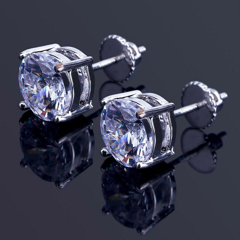 2020 Mens Hip Hop-Bolzen-Ohrringe Schmuck-Qualitäts-Mode-Rund Gold Silber simulierter Diamant-Ohrringe für Männer