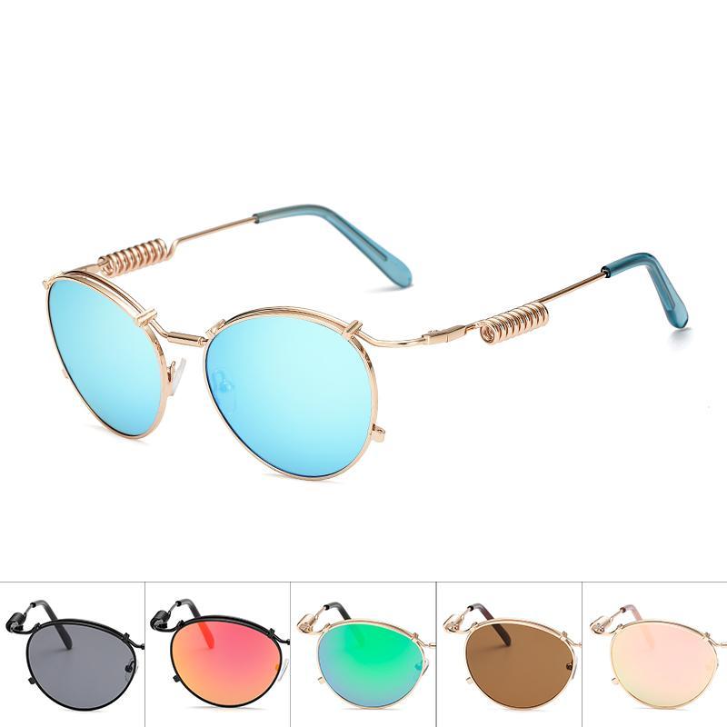 Круглые солнцезащитные очки стимпанк Корона зеркало металлическая овальная рамка солнцезащитные очки рамка солнцезащитные очки для мужчин и женщин многоцветный