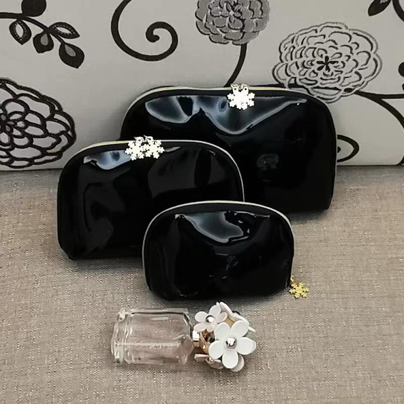 3Pcs/set Famous fashion C Women Shell cosmetic bag black patent leather storage bag ladies carry bag luxury design items vip gift