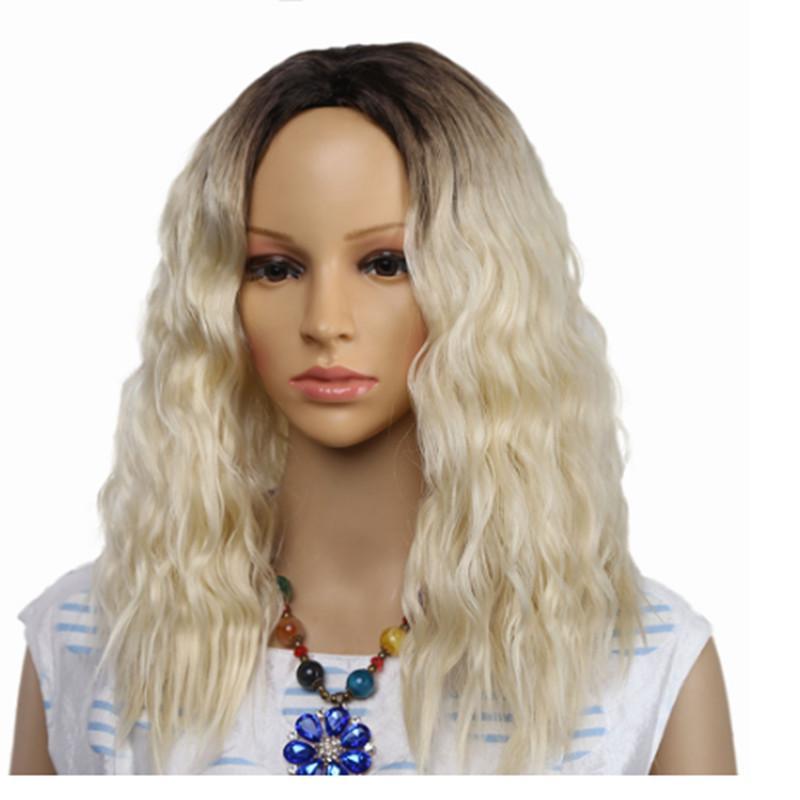 바람의 아프로 머리 가발을 위한 합성 흑인 여자 혼합 갈색 빛과 금발을 가발 중간 부분이 가짜 머리 코스프레