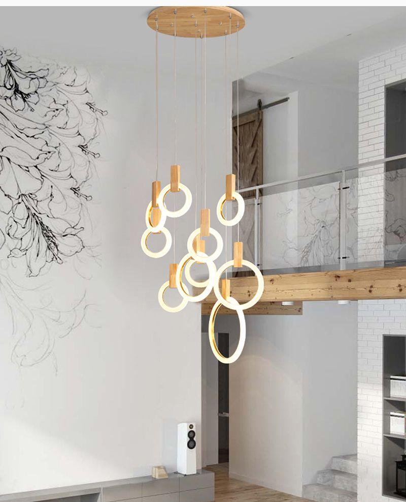 Çağdaş LED avize ışıkları nordic led droplighs Akrilik halkalar merdiven aydınlatma 3/5/6/7/10 halkaları iç aydınlatma armatürü