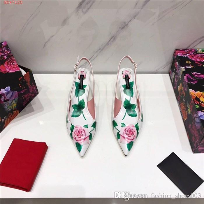 Womens early spring fashion Gorgeous flower patterns printed leather high hells sandals slingback leather sandals,With complete packaging