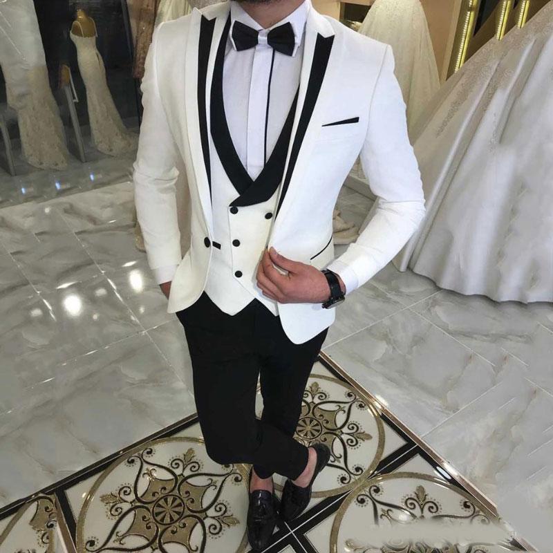 Ternos elegante Branco Três Peças Homens repicado lapela casamento dos noivos Smoking Slim Fit Formal Blazer One Button Suit Prom com jaqueta colete Pants