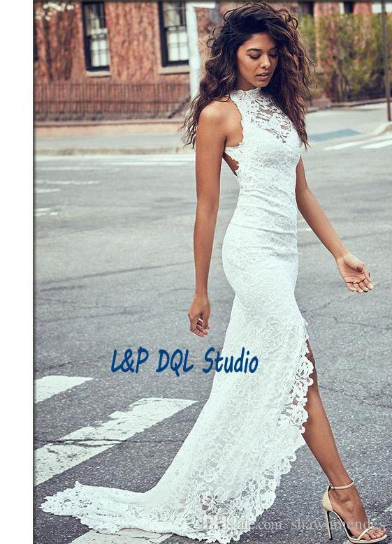 Sexy Backless Lace Wedding Dresses Side Split Sweep Train Lace Long Summer Style Lace Beach Bridal Gowns