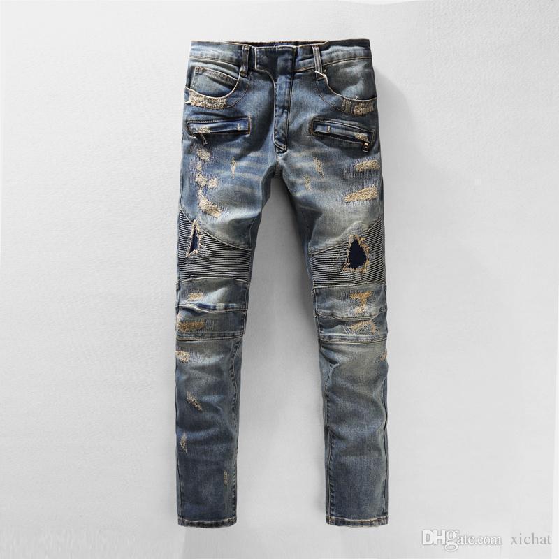 Für Männer Falten-dünne Loch-Jeans-Modedesigner-Plissee Panelled Zipper Slim Fit Motorradfahrer Hip Hop-Denim-Hosen 905