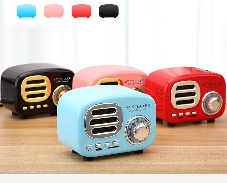 BT02 BT- 스피커 레트로 라디오 블루투스 스피커 빈티지 향수 서라운드 HiFi 스피커 지원 V4.1 TF USB FM AUX 10pcs