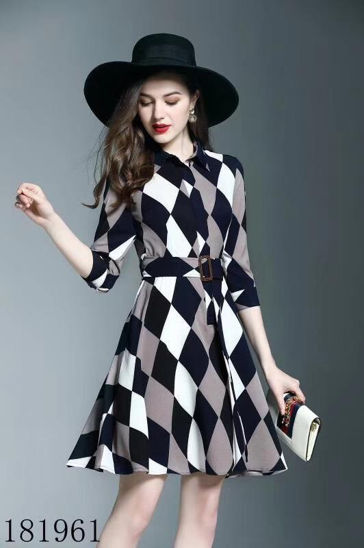 Ladies Plaid Dress Was Thin Professional Dress A-Belt British Style New Casual Business Lady Dresses AA5