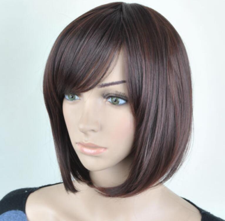 Парик новый стиль Бесплатная доставка женская наклонная челка коричневый короткий прямой парик Бобо косплей партия полные парики