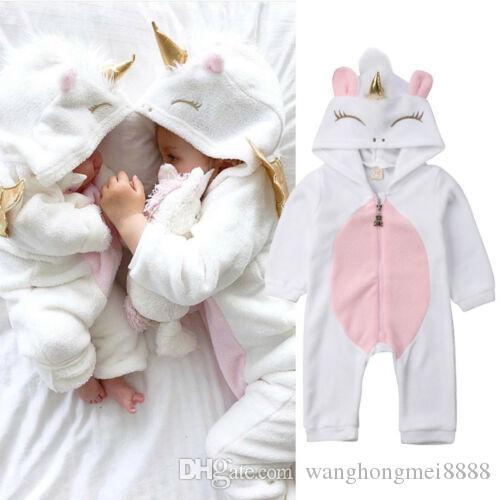 Toddler Yenidoğan Unicorn Bebek Kız Erkek Tulum Uzun Kollu Infatnt Oğlan Kız Tulum Uyku Giyim Fotoğraf Sahne