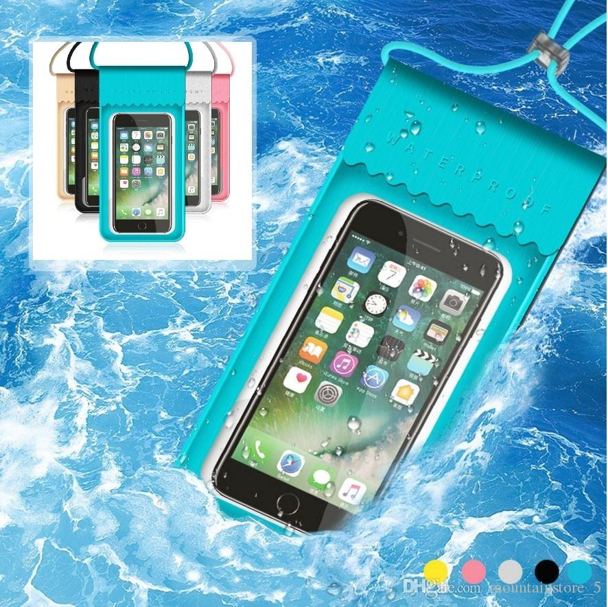 New PU Waterproof Mobile Phone Case For iPhone X 7 6 Samsung Clear PVC Sealed Underwater Cell Smart Phone Dry Pouch Cover (Retail)