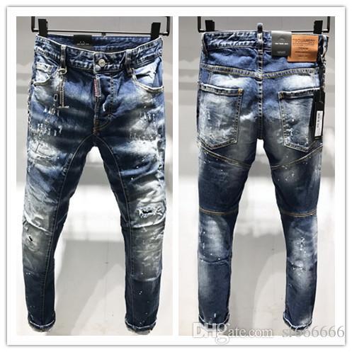2019 nueva marca de jeans de moda de los hombres europeos y americanos ocasionales, lavado de alto grado, la molienda pura mano, la optimización de la calidad LA180