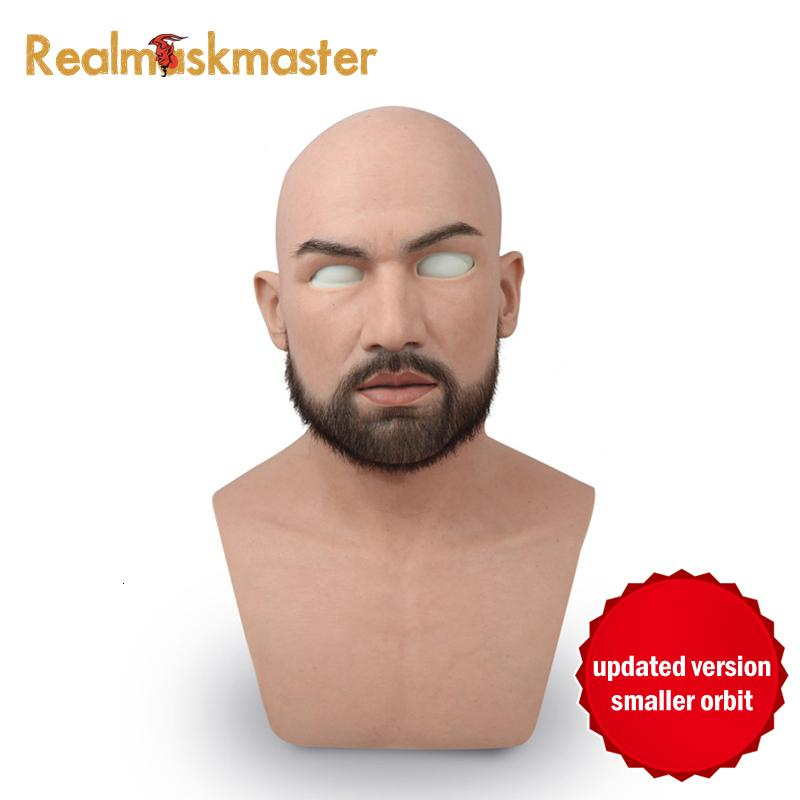 Realmaskmaster male latex realistic adult silicone full face mask for man cosplay party mask fetish real skin SH190922
