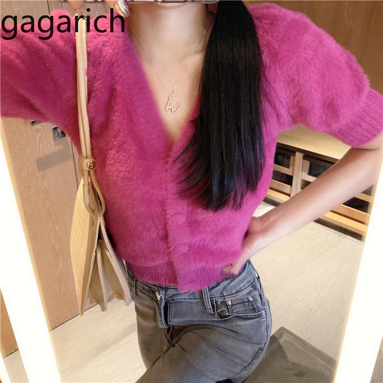 Burbuja Gagarich color de las mujeres del suéter de manga corta con cuello en V Cardigan de punto Tops Mujer Primavera corta delgada del color sólido de