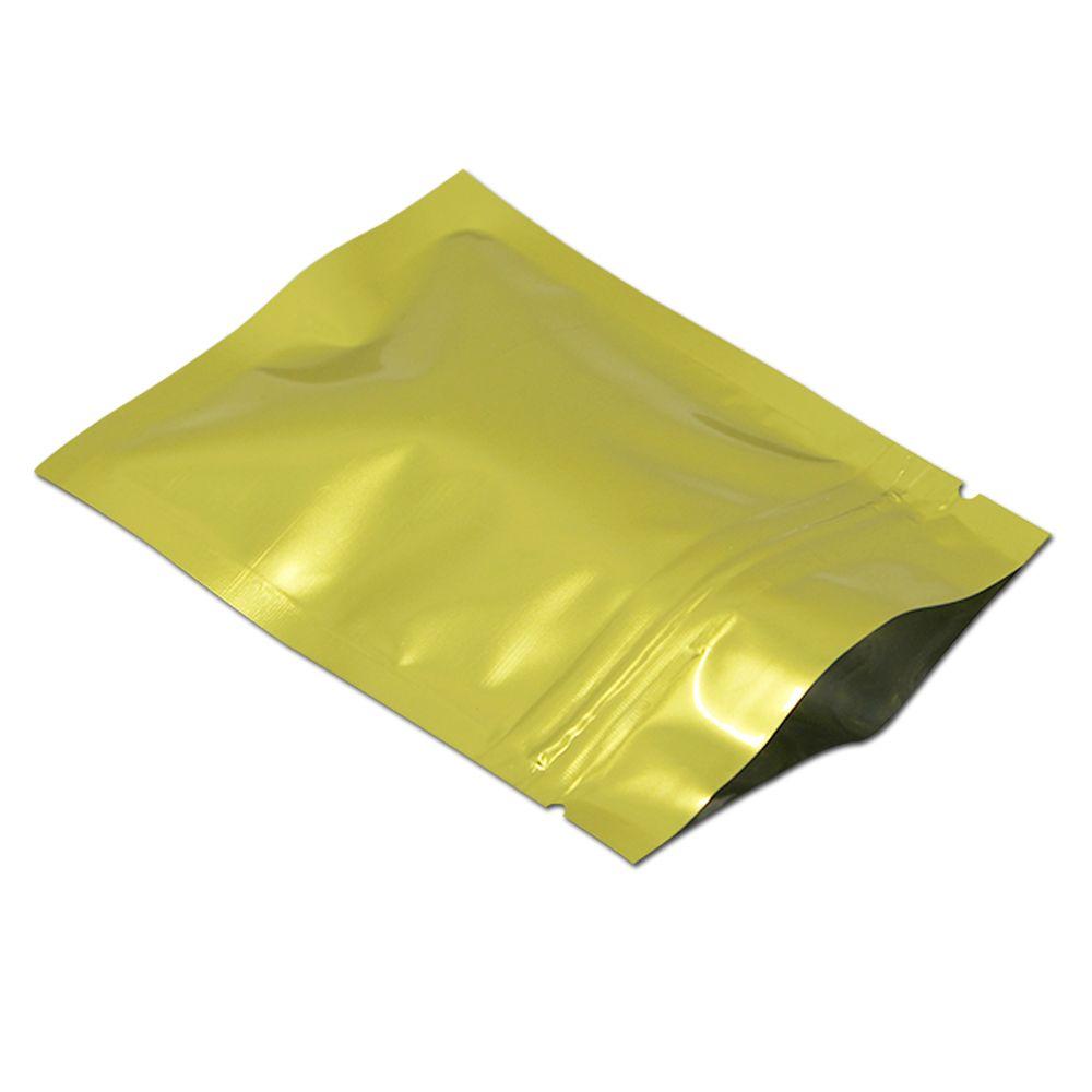 100pcs / lot d'or en feuille d'aluminium refermable Ziplock Sac d'emballage Mylar Foil Heat Scellable alimentaire Nuts Snack Zip Sac de verrouillage Paquet
