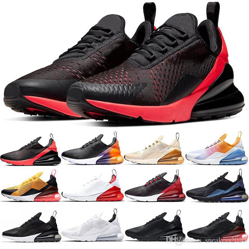Nike Air Max 270 Männer Frauen Laufschuhe Bred Oreo Triple Black Core-weißen Habanero Red Hot Punch-Volt Designer Mens Trainer Sport-Turnschuhe Größe 5,5-11