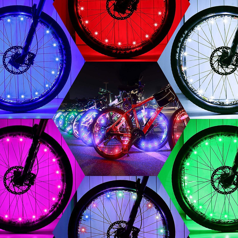 LED Bicycle Rim Lamp Wheel 20 Spoke Strip Multicolor Light Waterproof Flexible