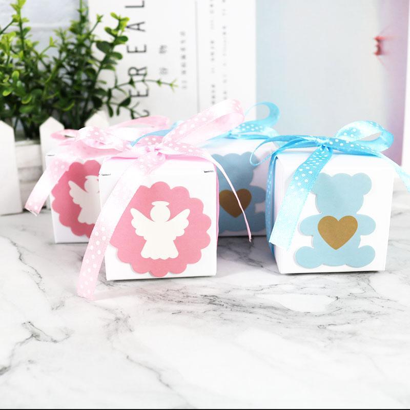 Mavi Yeşil Karton Kutu Hediye Kutuları Bebek Kutusu Doğum Parti Malzemeleri 10pcs Ambalaj Kağıt Çanta Şeker / çok Yana