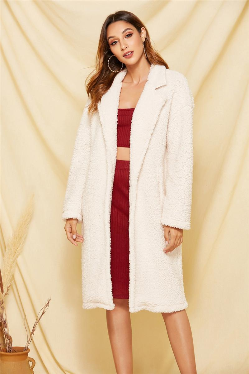Las mujeres abrigos de invierno de color sólido flojo felpa Manga larga de la solapa del cuello Coats diseñador de moda para mujer abrigos