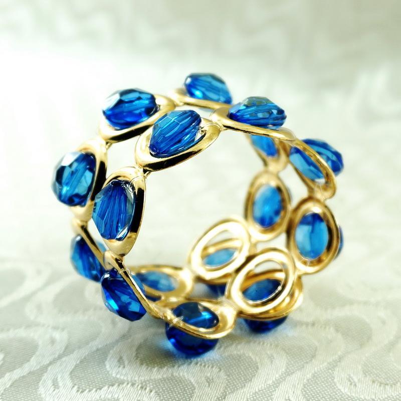 anillo de servilleta de cristal con soporte de plata / beades de metal de oro servilleta