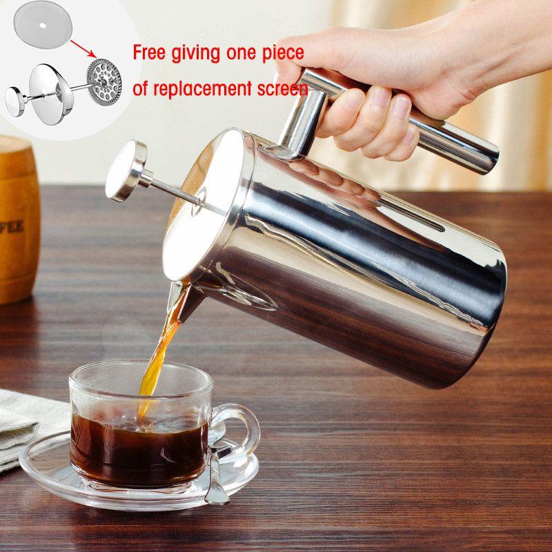 French Press Chá Melhor paredes duplas de aço inoxidável Cafeteira Duplas fazer Café e Chá Pot Dando Um filtro cestas T200111