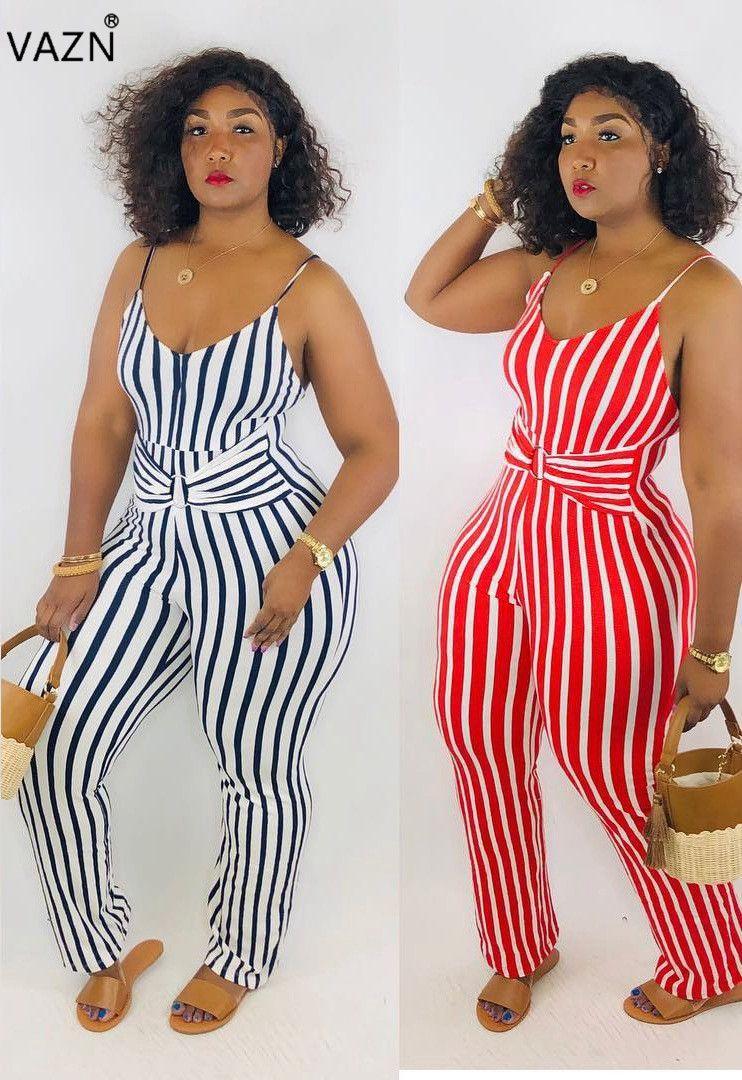 VAZN 2019 Combinaison Vêtement 2colors streetwear sexy femmes sans manches à long galus rayé fashion Rompers LM8049