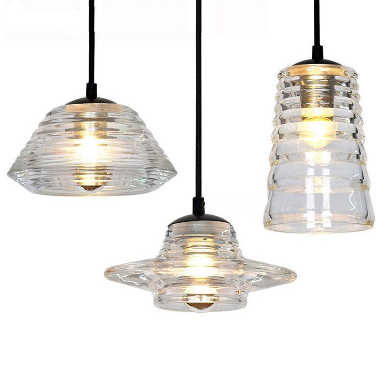 Современный светодиодный подвесной свет AC110V / 220-230V прессованный стеклянный чаша / объектив / трубки Кристаллические лампы крытый освещение Художественная потолочная лампа